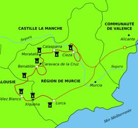 Mapa de la Ruta de los Castillos y Santuarios en bicicleta.