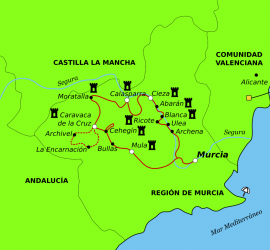 "Mapa of the bike route ""Forward the last Spanish Moorish""."