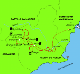 Map of the bike route cycling the Pilgrim's Vera Cruz.