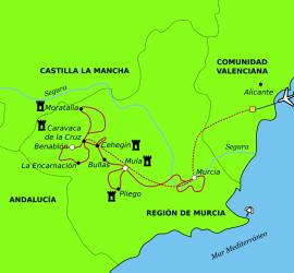 Carte circuit á vélo: La Voie Verte des Pélerins de la Vera Cruz.