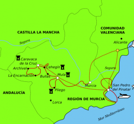 The Costa Cálida by bike and boat. Detailed map.