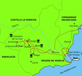 La Costa Cálida à vélo et en bateau. Carte détaillée.